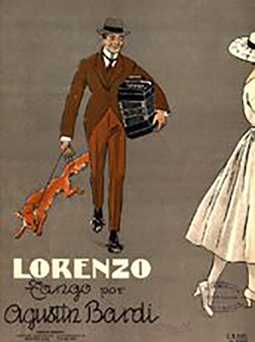 """Lorenzo"", music sheet cover, original. Artist: Agustín Bardi."