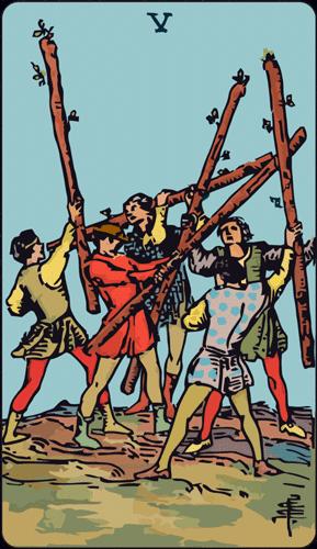 Carta de Tarot 5 de bastos