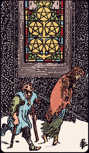 Carta de Tarot 5 de Oros