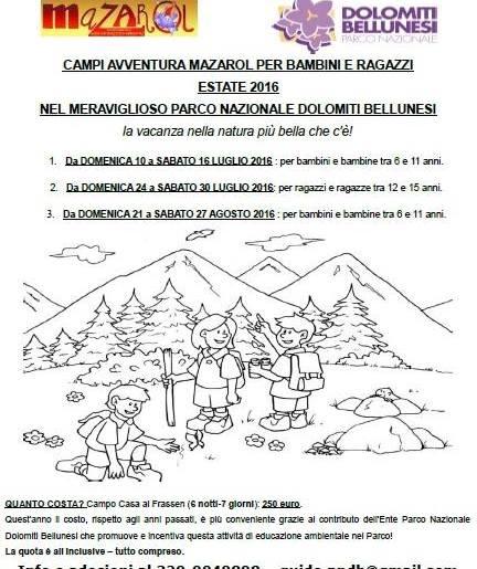 Campi avventura Mazarol per bambini e ragazzi estate 2016