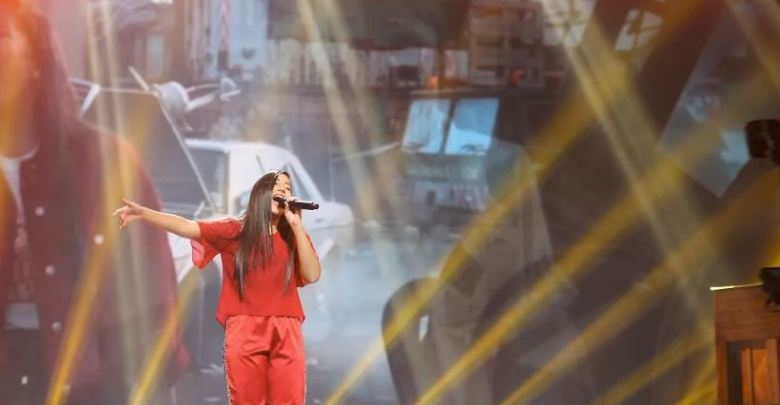 "Ela Mangion performing ""Marchin' On"" at Junior Eurovision 2018 in Minsk, Belarus"