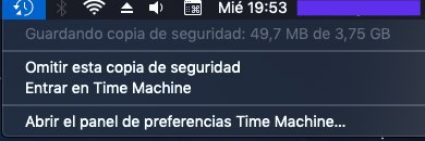 Guardando copia de seguridad con Time Machine