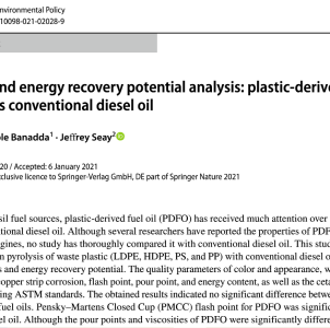 "New Article in ""Clean Technologies and Environmental Policy"" highlights properties of Plastic Derived Fuel Oil"