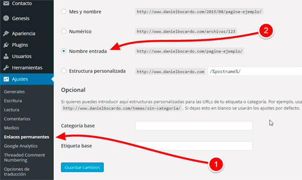 Enlaces permanentes en WordPress