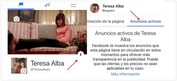 ejemplo ver anuncios activos de facebook ads