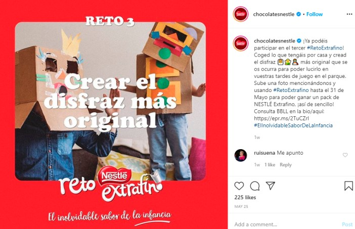 Ejemplo caption Instagram Nestlé