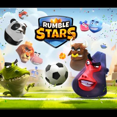 Imagen promocional del juego Rumble Stars, con el logo del juego, un balón de fútbol y varios animales alrededor.