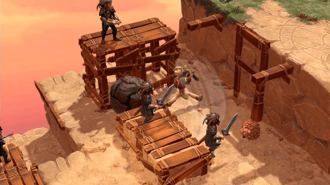 Captura de pantalla del juego The Dark Crystal: Age of Resistance Tactics, donde se ven varios personajes luchando.