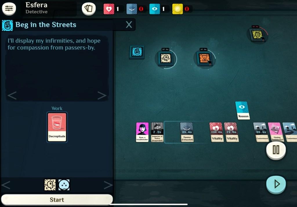 Pantalla de juego de Cultist Simulator, con un tapete con varias cartas y una ventana emergente que permite empezar una acción.
