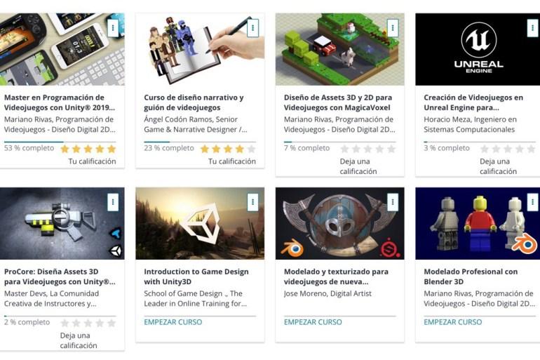Captura de pantalla de la plataforma de cursos online Udemy, mostrando varios cursos de programación y desarrollo de videojuegos.