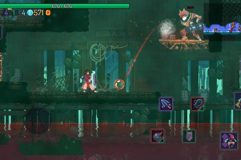 Captura de pantalla de Dead Cells. Se ve una de las mazmorras con el protagonista y un enemigo. En la parte inferior derecha se pueden ver los controles de ataque.