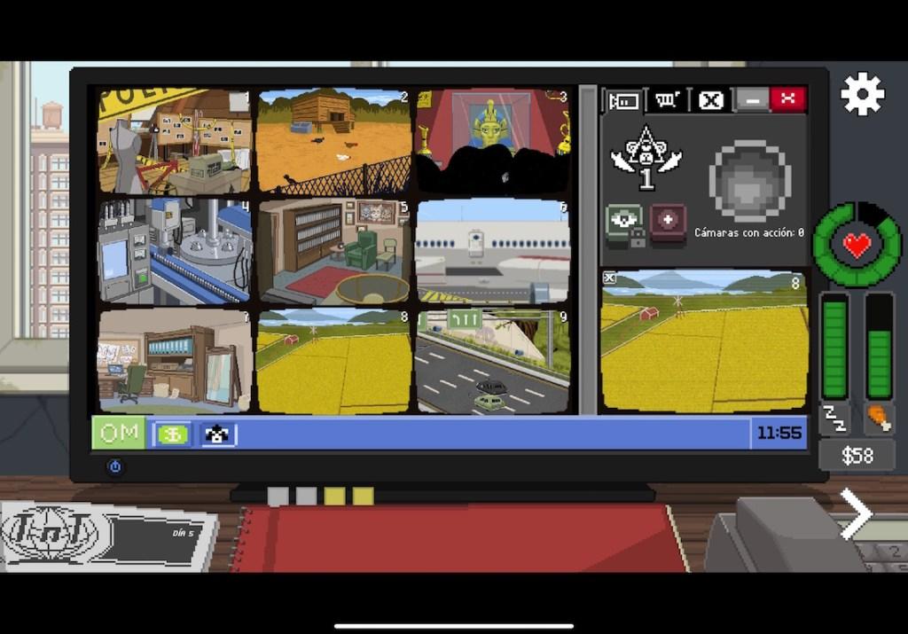 Captura de pantalla de Do not feed the monkeys en iOS. Se ve un escritorio con un ordenador (interfaz del juego)