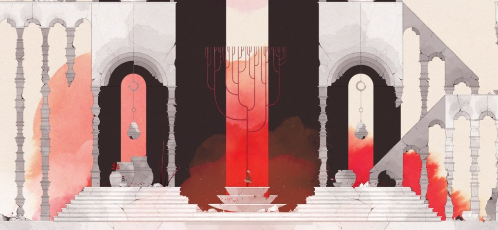 Captura de pantalla del juego GRIS. Se muestra a la protagonista en el centro de una especie de templo, con tonos rojos, negros y grises.