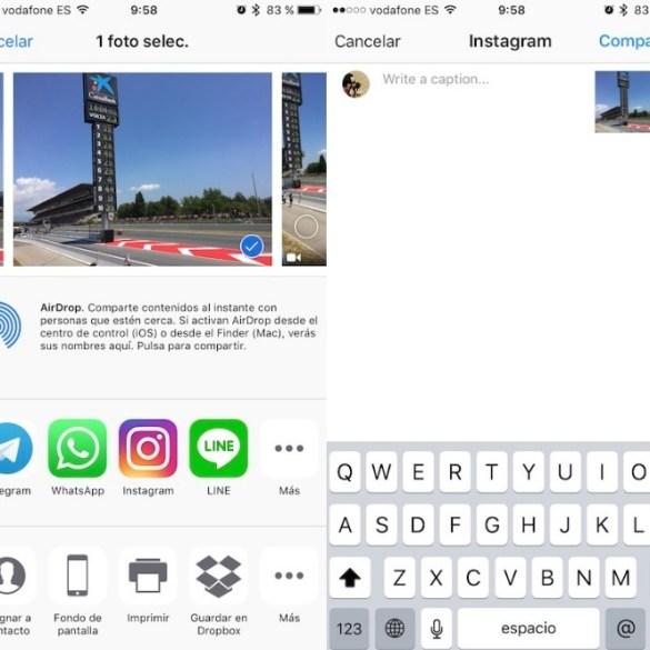 Instagram extensión iOS