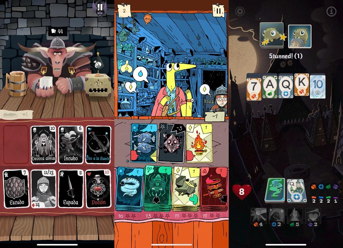 3 capturas de pantalla juntas en horizontal de los juegos Card Crawl, Miracle Merchant y Solitairica.