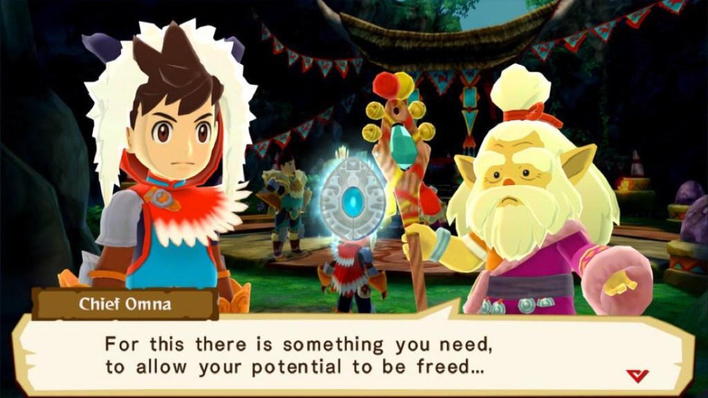 Captura de pantalla de Monster Hunter Stories, con el chico protagonista y un anciano hablando en primer plano. En la parte inferior aparece una ventana con el texto que está diciendo el anciano en ese momento.