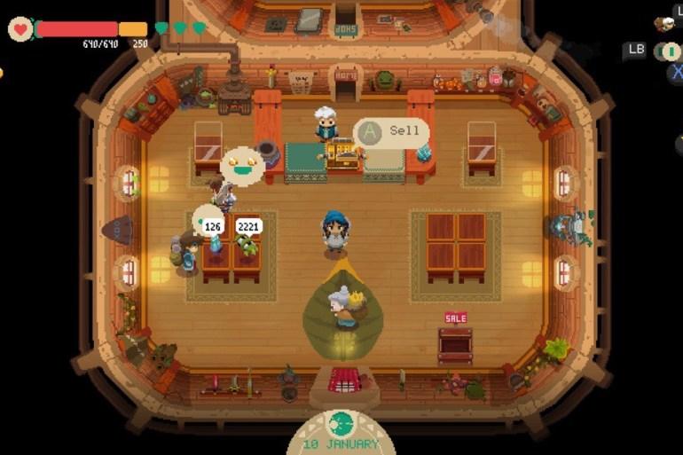 Captura de pantalla del juego Moonlighter. Protagonist en su tienda de objetos y varios clientes. Pixel art.