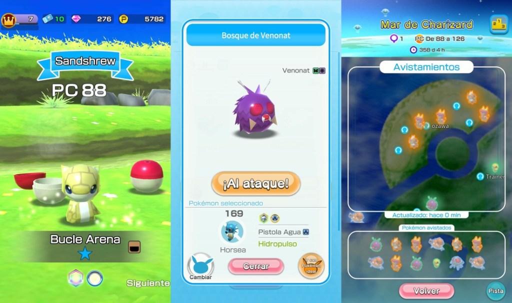Tres capturas de pantalla del juego Pokémon Rumble Rush