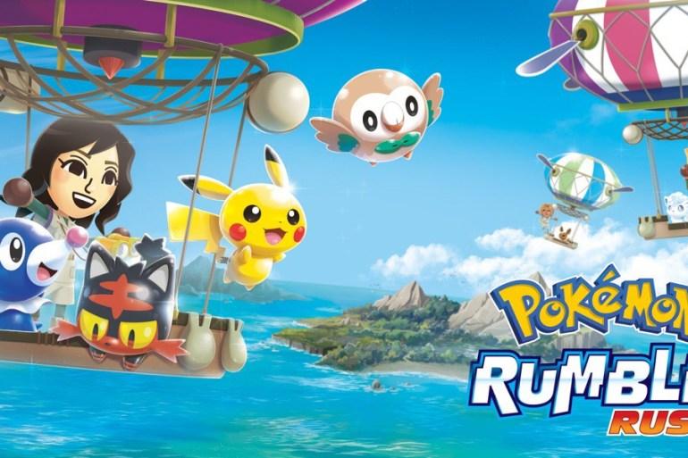Imagen promocional de Pokemon rumble rush, donde se ven varios pokemon y entrenadores sobre globos aerostáticos. De fondo islas y mar