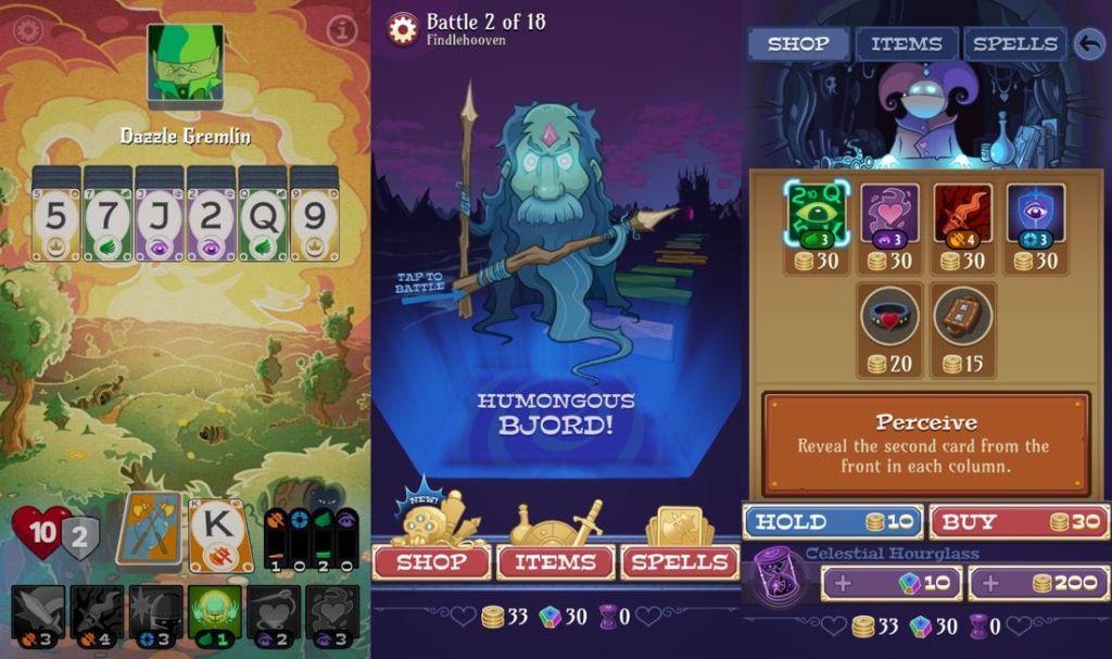 3 capturas de pantalla del juego Solitairica - Juego de cartas para iOS que mezcla el juego Solitario con batallas contra monstruos.