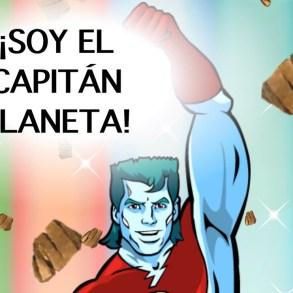 """Capitán Planeta con el puño al aire y gritando: """"¡Soy el Capitán Planeta"""". Colores verde, rojo, azul cielo, azul agua y amarillo de fondo (colores de los 5 planetarios)"""