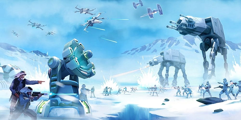 Ilustración de Star Wars. Se muestra una batalla en un paraje nevado, con naves, caminantes AT/AT y varias tropas de a pie.