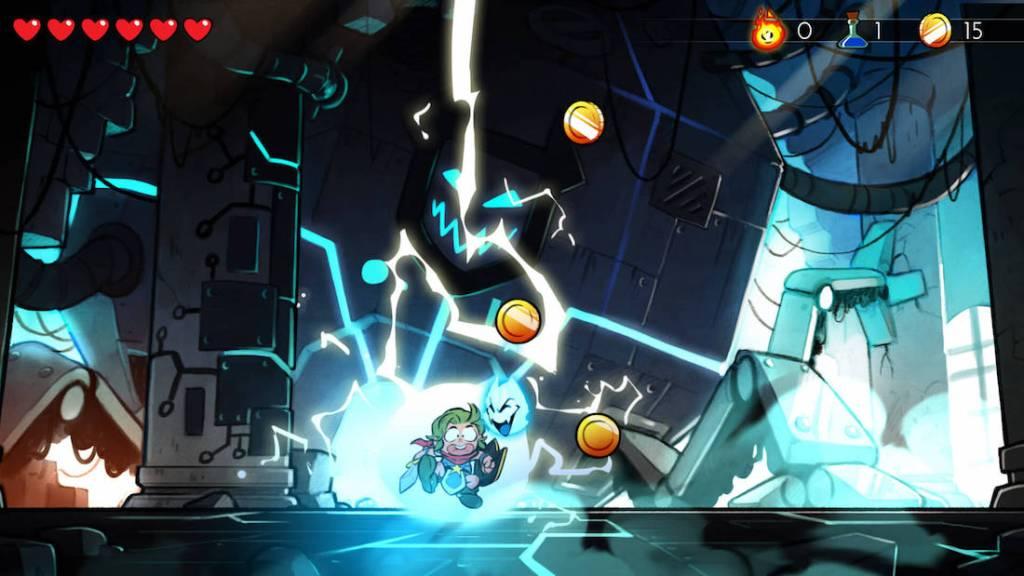 Captura de pantalla del juego Wonder Boy: The Dragon's Trap. Se muestra al protagonista en forma de humano, siendo alcanzado por un rayo en un escenario con oscuro con fantasmas enemigos.