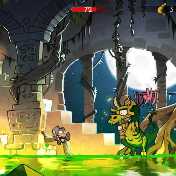 Captura de pantalla del juego Wonder Boy: The Dragon's Trap. Se muestra al protagonista en forma de ratón luchando contra un dragón.
