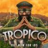 Imagen promocional del juego de estrategia Tropico. Se muestra un dictador juntando las yemas de los dedos y sonriendo. Lleva un traje militar, gorra y gafas de sol. Detrás se ve una isla tropical.