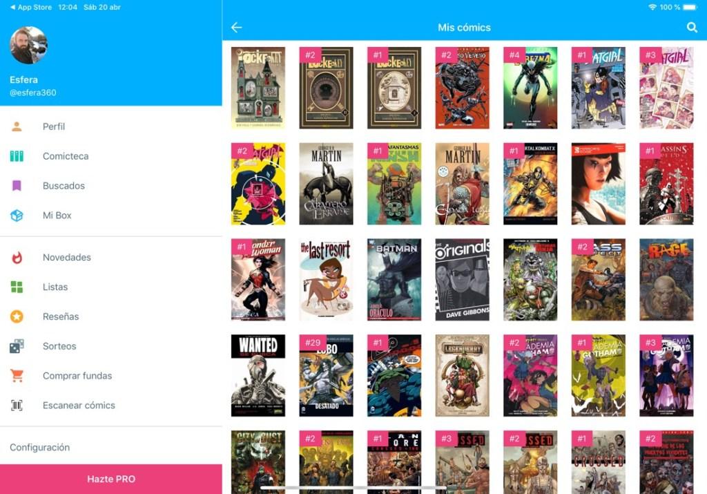 Captura de pantalla de la app Whakoom. Se muestra la comiteca con las portadas de los cómics que tenemos en nuestra colección. A la izquierda se muestra el menú de la aplicación que nos permite movernos entre los diferentes apartados.