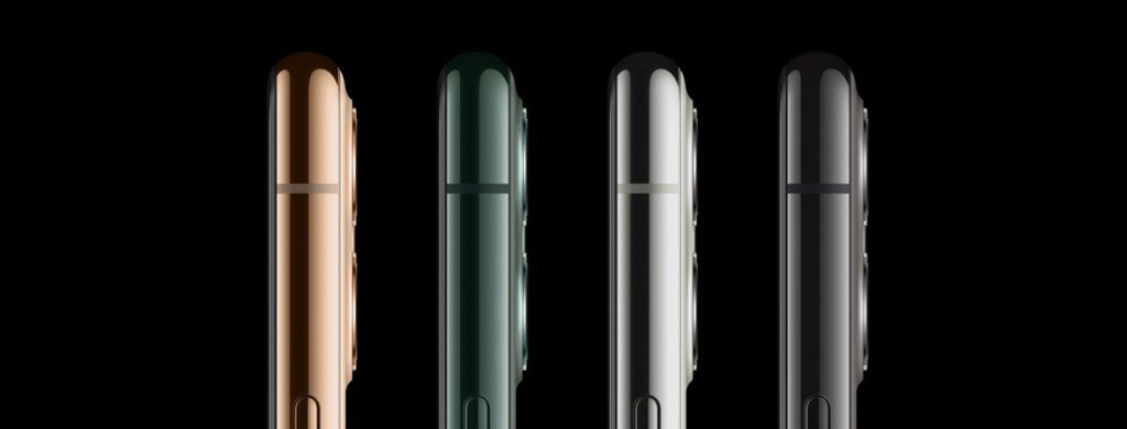 Los cuatro colores del iPhone 11 Pro vistos de lado.
