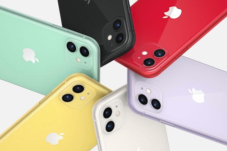 iPhone 11 en diferentes colores haciendo un círculo.