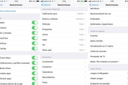Restricciones y control parental en iOS 10 y 11