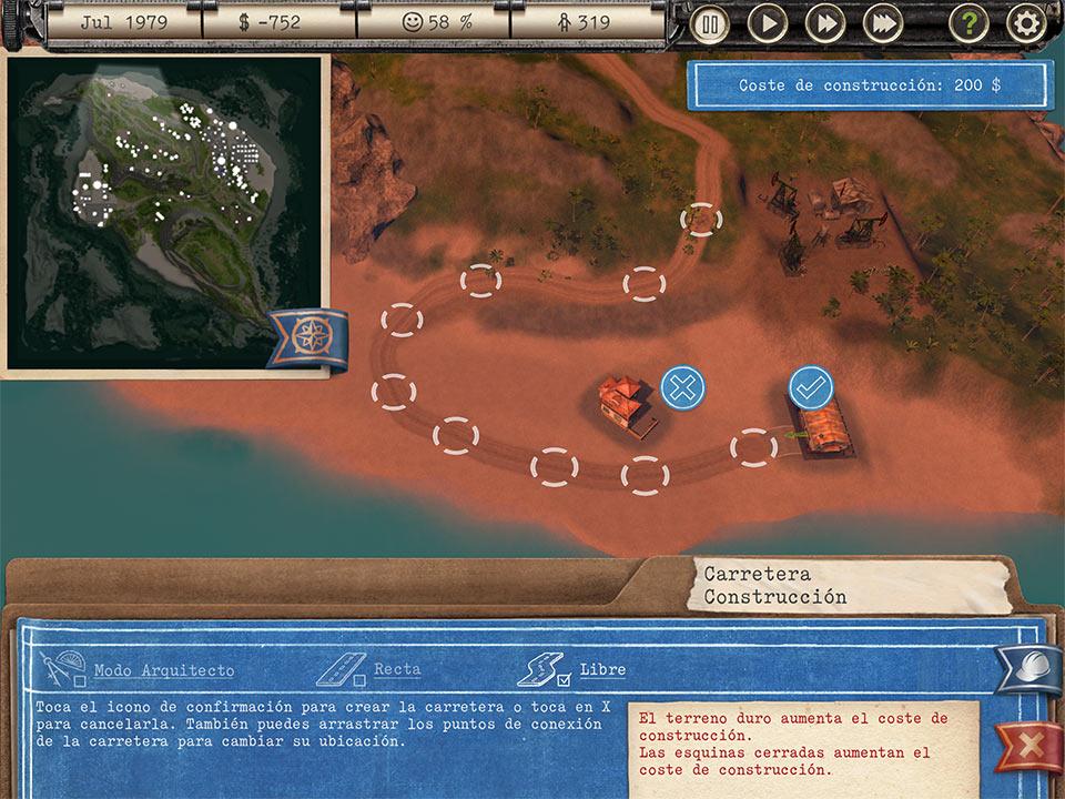 Captura de pantalla del juego Tropico. Se ve una vista cenital de una playa, además de un mini mapa en la parte superior izquierda y texto a modo de tutoría en la parte inferior. Es la pantalla de construcción del juego.