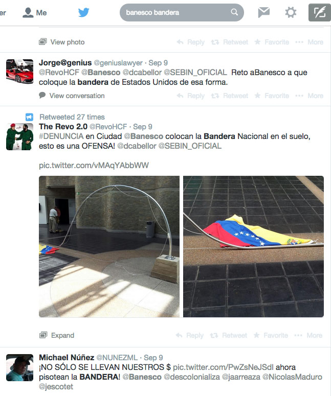 Tweets sobre la obra en Banesco 2014-09-11 at 1.05