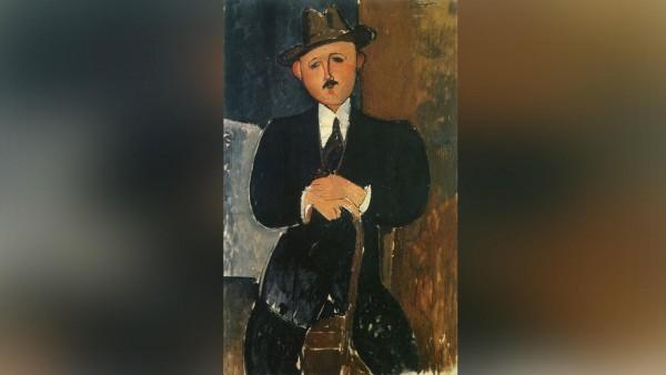 """La obra desaparecida """"Hombre Sentado con un Bastón"""" del artista italiano Amadeo Modigliani fue comprada en 1996 por un clan de multimillonarios."""