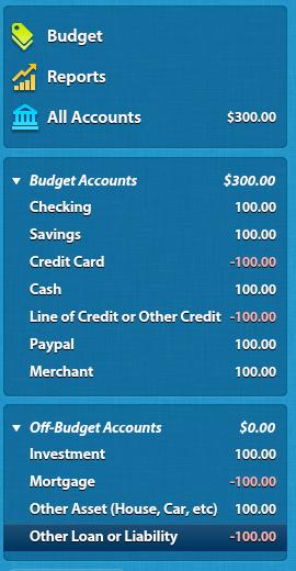 Account types on YNAB screen