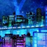 Screenshot of the city inside Platinum Jail in the anime Dramatical Murder