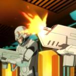 Screenshot from Dramatical Murder of Platinum Jail security shooting at Aoba and his friends