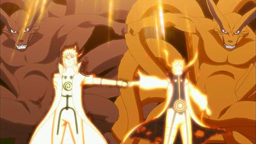 Naruto Shippuden screenshot of Naruto and his father with both halves of Kurama bumping fist to join powers