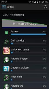 Picture of ZTE ZMAX Battery screen after 8hrs of use