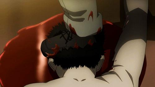 A foot crushing a head in Psycho Pass 2 Episode 4