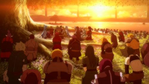 Hundreds of warriors bow as Yuukli passes on in Sword Art Online 2 Episode 24