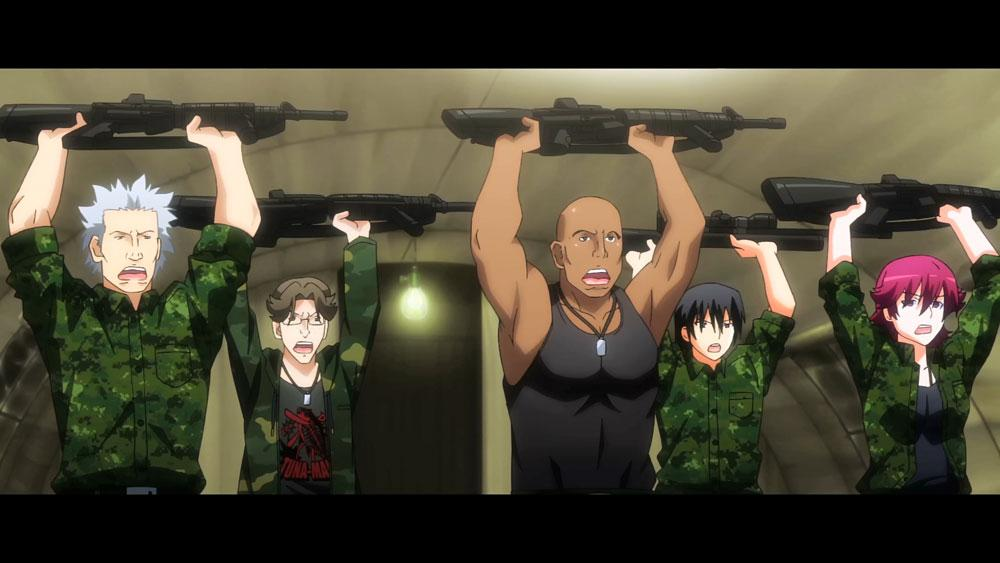 The whole Bush Dog Platoon holds their guns in air as the crazy commander orders in Grisaia no Rakuen Episode 03