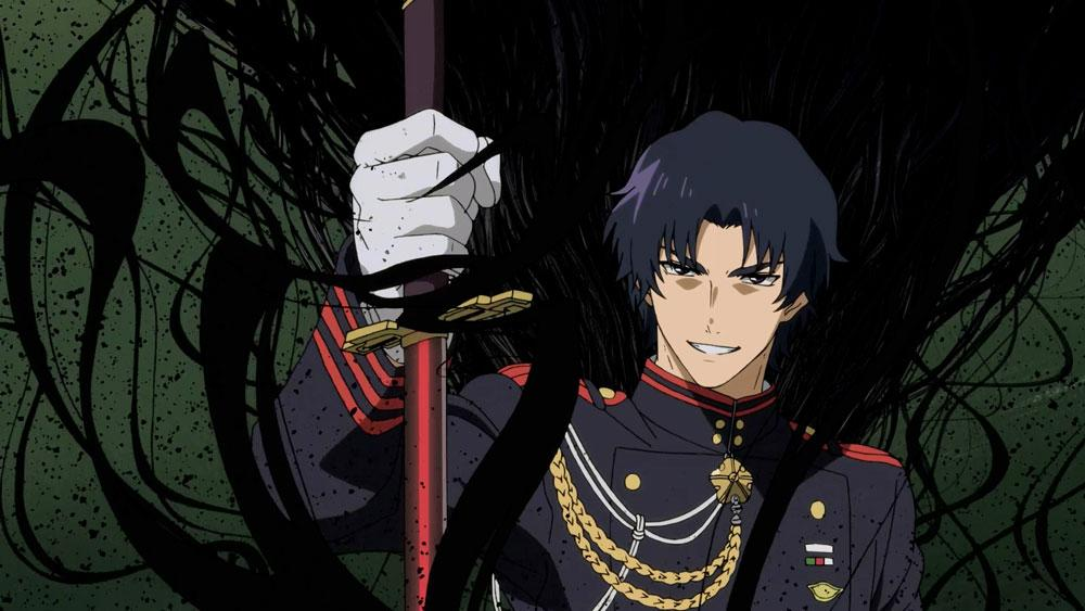 Guren holding his demon blade before he unleashes the demon on the class in Seraph of the End Episode 05
