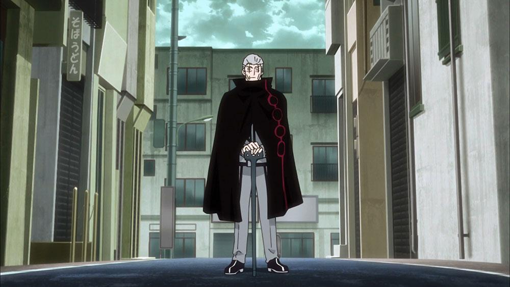 Vize standing with the black trigger Organon in the middle of the empty street in World Trigger Episode 28
