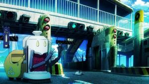 Screenshot of the robots cleaning the streets in the anime K