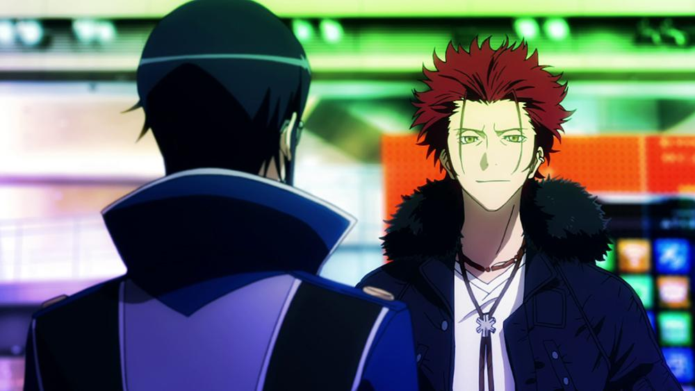Screenshot of Mikato and Munakata looking at each other in episode 1 of the anime K