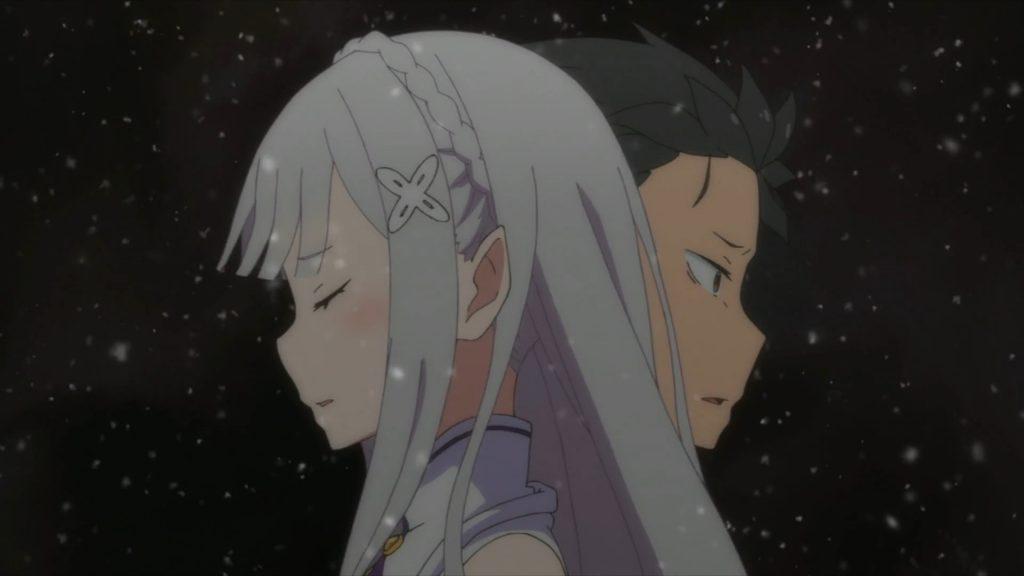 Screenshot of Emilia and Subaru from the anime Re:Zero kara Hajimeru Isekai Seikatsu