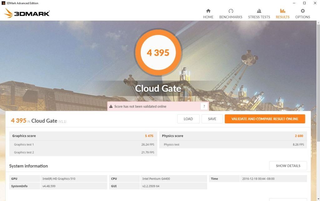 Screenshot of 3DMark Cloud Gate benchmark results on the server